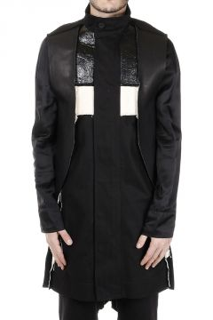 Cotton FRACTURED Parka with Leather Details