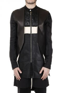 Cotton FRACTURED Long Jacket with Leather Detail