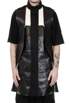 Leather Details FRACTURED Sleeveless Parka