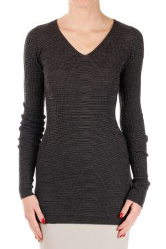 Virgin Wool V Neck Sweater Dark Dust