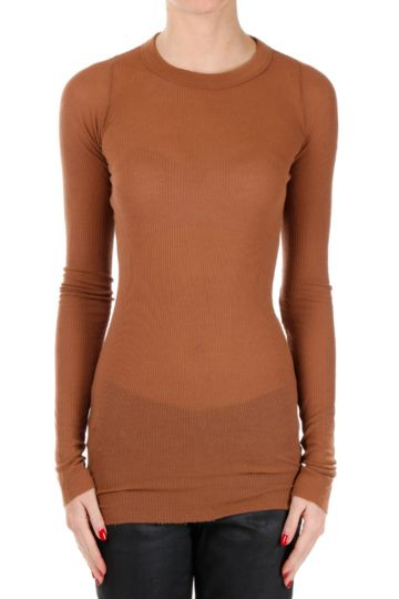 T-shirt Maniche Lunghe a Costine in Misto Lana Henna
