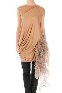 SS TEE MARABOUT Top with Ostrich Feathers