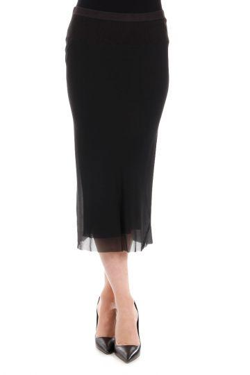 Silk KNEE LENGHT Blk Skirt