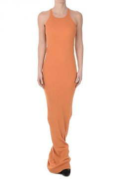 Cotton ribbed TANK EXTRA LONG Dress PAPAYA
