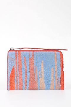 Leather MEDIUM ZIPPED POUCH RED/SKY