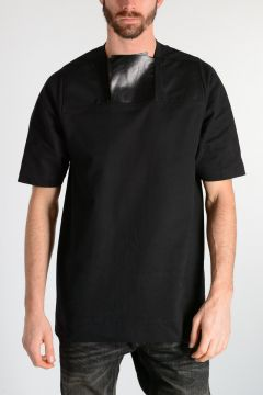 PLACKET Tee with Leather & Silk Details