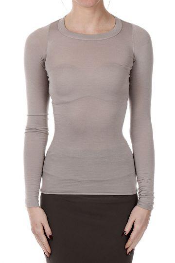 RIB TEE Long Sleeves Mixed Silk T-shirt