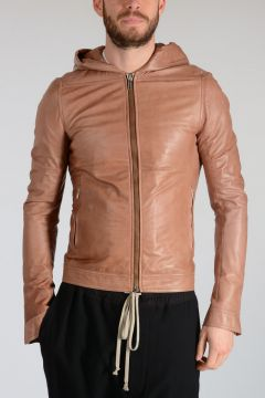 Leather HOODED BIKER Jacket CARAMEL