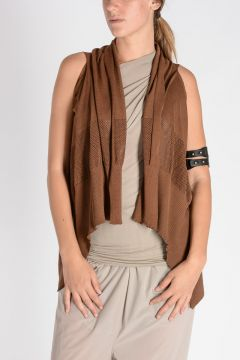 Coprispalle SLEEVELESS SHORT WRAP in Cotone CARAMEL