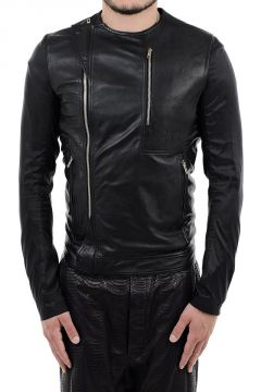 Giubbotto CREW NECK BIKER WITH POCKET in Pelle