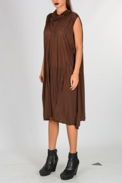 DRKSHDW cotton CAPED TUNIC COWLED NECK Dress
