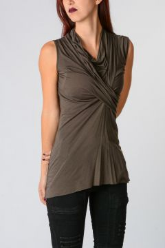 LILIES Sleeveless Draped Top darkdust