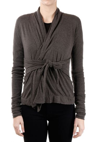Cardigan in Misto Lana Wrap Dark Dust