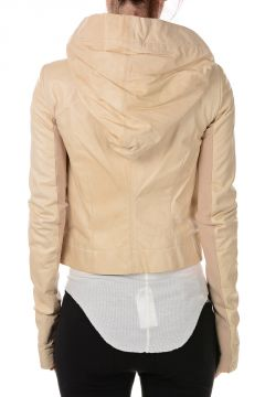 Leather HOODED BIKER Jacket