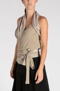 Sil & Leather LIMO WRAP TOP PEARL