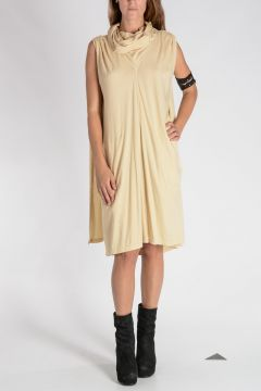 Vestito COWLED CAPED TUNIC in Cotone BONE