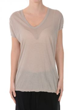 Cotton T-shirt CROPPED V NECK Pearl