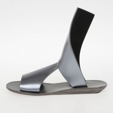 Metallic Leather SLIVER WEDGE SPARTAN Sandals DIRTY SILVER