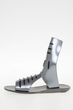 Leather SILVER WEDGE SPARTAN Sandal Shoes