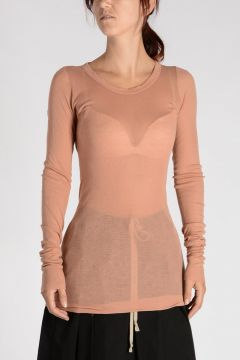 T-Shirt LONG SLEEVES RIB in Cotone ROSE