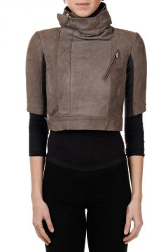 Giacca SLEEVE CROPPED in Pelle DARKDUST