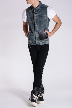 DRKSHDW Giubbotto Denim WORK VEST COMBO POCKET Smanicato