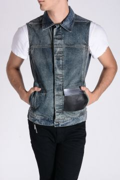 DRKSHDW - WORK VEST COMBO POCKET Sleeveless Denim Jacket