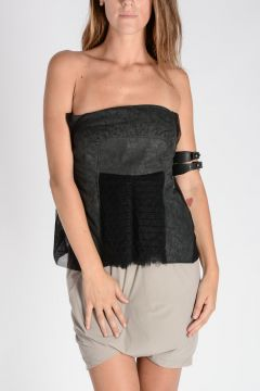 Top a Fascia SHIELD TOP RIBBED in Misto Cotone e Tulle
