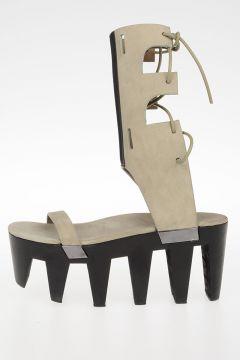 Sandali HIGH SANDAL W/BOW GETA CLOG in Pelle 9 cm