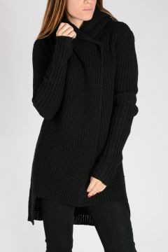 HOODED BIKER Virgin Wool Coat