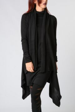 Virgin wool HOODED WRAP Cardigan