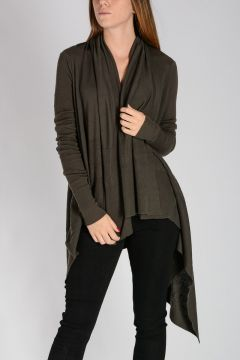 HOODED WRAP Sweater darkdust
