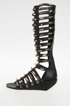 Sandalo Alto ALLOVER STUDDED in Pelle 5 cm