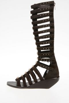 Sandalo CENTRAL STUDDED HIGH in Cavallino DARKDUST 5 cm