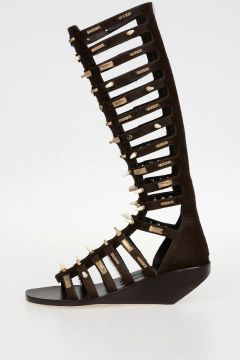 Sandalo ALLOVER STUDDED HIGH in Cavallino DARKDUST 5 cm