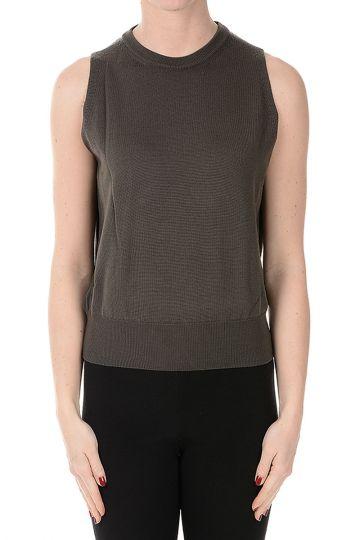 Virgin Wool BIKER Sleeveless Sweater