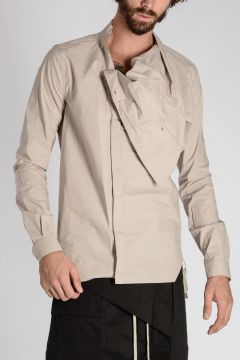 Popeline cotton WRAPPED SHIRT Pearl