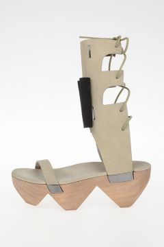 Sandalo HIGH SANDAL W/BOW 9 CM MONSTER CLOG in Pelle