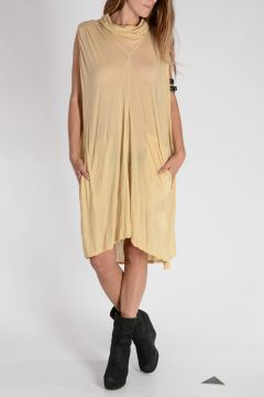 DRKSHDW Vestito COWLED CAPED TUNIC in Cotone BONE