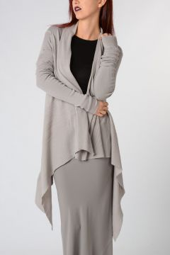 Wool HOODED WRAP Cardigan