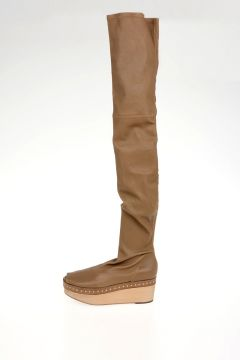 Stivali KNEE HIGH SCUBA SABOT in Pelle MUSTARD 5 cm