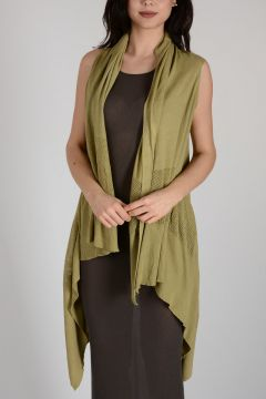 Cotton SLEEVELESS HOODED WRAP Cardigan ONYX