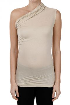 Top ONE SHOULDER Drappeggio su Collo Vanilla