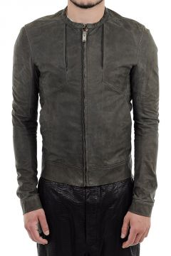 PANELED BOMBER Leather Jacket