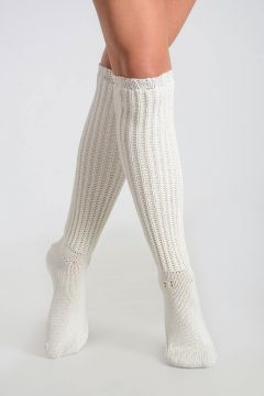 Knitted HEAVY RIB Socks MILK