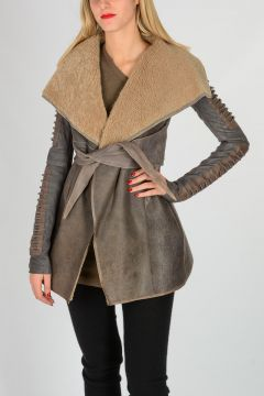 Leather Shearling Jacket With Belt