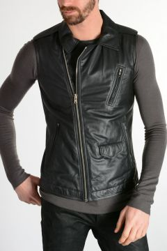Leather Sleeveless Jacket