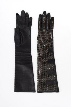 Guanti SEQUINNED SHORT GLOVES in Pelle BLACK/DARKDUST