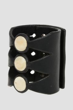 Leather LOU 1 Bracelet with Buffalo Bone Details