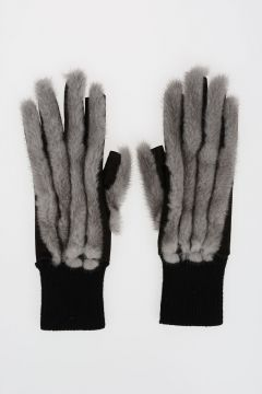 Wool and Leather Gloves with Fur in BLUE IRIS